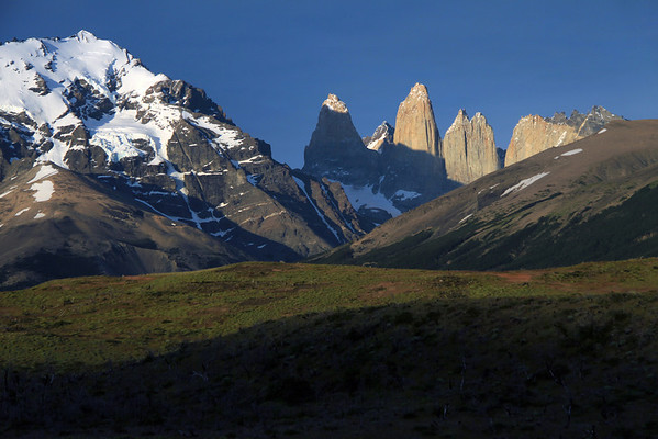 Morning sunlight upon the cushion plants - to the Lenga Beech forest along the lower slope of Cerro Paine (r) - and the hanging glaciers along the slope, up to the summit of Mt. Almirante Nieto (l) - beyond to the Torre Sur, with Cerro Fortaleza beyond and the glacier below - the igneous granite spire of Torre Central, and twin peaks of Torre Norte - the sunlit jagged granite peak and lower hornfels ridge, of Cerro Nido Condor - and a slight glimpse of the distal, Cerro Escucio.