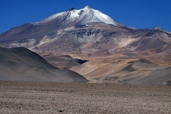 Volcan Copiapo - this inactive volcano revealing its twin peaks and mineral stained northeastern slopes.