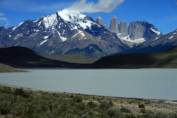 Across Laguna Amarga, a closed basin lagoon, measuring about 13 ft. (4 m) deep - to Mt. Almirante Nieto - beyond to Paine Towers, with the adjacent hornfels-capped Cerro Nido Condor.