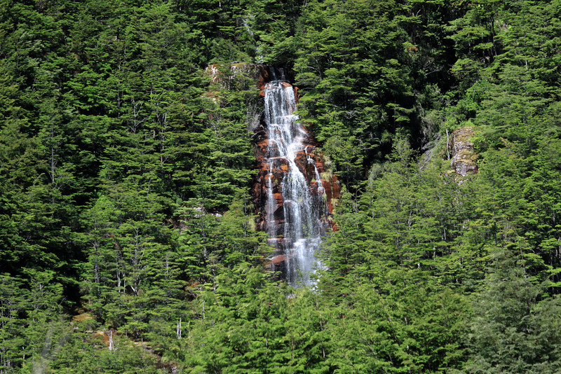 Cascade falls, amongst the southern beech forest - along the Rio Simpson Valle.