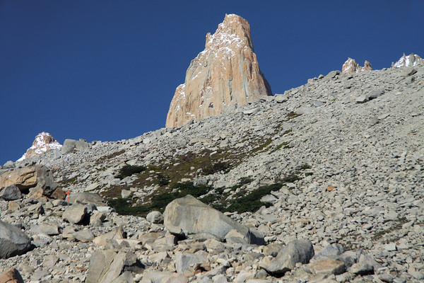 Along the trail to the base of the towers - here thru the glacial till, along the moraine - with the twin peaks of Torre Norte (r) - Torre Central (c) - and Torre Sur (l).
