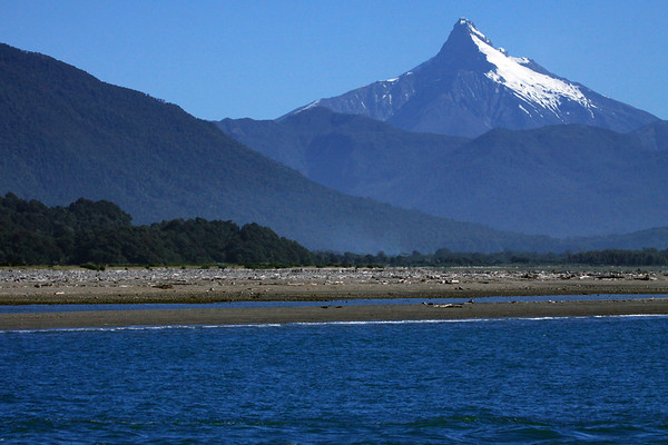 Across the Rio Yelcho, the alluvial plain and driftwood - to Volcan Corcovado - Los Lagos region.