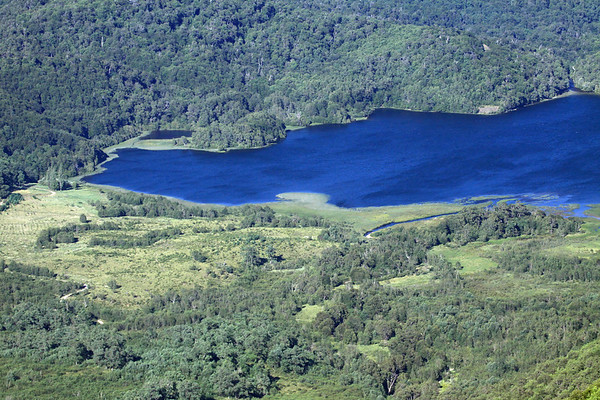 Eastern end of Laguna Malleco - with its source water flowing into the glacial formed lake, and the discharge water of the Rio Malleco (upper, r) among the forested slopes.