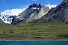 Lago Nordenskjold, and the early summer season bloom of cushion plants upon the slopes - slope of Mt. Almirante Nieto (r) - Horns of Paine (c), with La Mascara - Cerro Paine Grande (l), up in the clouds.