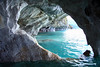 Thru a sea arch - along the metamorphic marble western shoreline, of Lago Carrera.