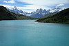 Up the Rio Paine - distally (l to r) - Cerro Paine Grande, and Cumbre Principal - Cerro Aleta Tiburon and Cerro Trono Blanco - Cuernos del Paine (all three visible, with Cerro Fortaleza seen distal between Principal (l) and Este (r) - Torre Sur and Torre Central - Mt. Almirante Nieto - all part of the iconic Paine Massif.