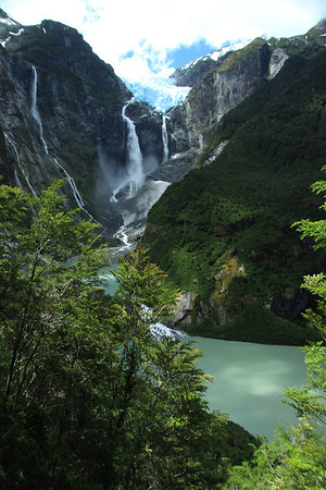 Past the southern beech trees, to the glacial water of the Laguna Tempanos, and the mostly cloud-shaded forested slope - with the Ventisquero Colgante (Hanging Glacier) above the two plunge waterfalls and avalanche cone (coated with mineral silt) below - and several other waterfalls descend the igneous rock slope of the Patagonia Andes - Queulat National Park.