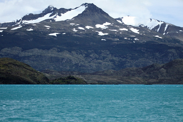 Across Lago Pehoé - to the forest of southern beech trees, along the northeastern slope, of Cerro Ferrier.