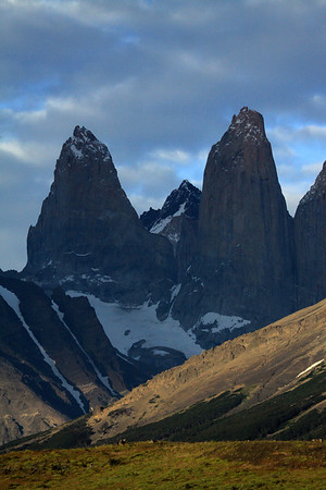 From the cushion plants - to the forest of Lenga Beech, along the lower slope of Cerro Paine - across to the glacial ice streams along Mt. Almirante Nieto - and the Torre Sur and Torre Central - with Cerro Fortaleza, distal between - and the col Bich which connects the Torre Norte to Torre Central.