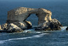 La Portada (the Gateway) - this water-sculpted sea stack arch, measurres about 140 ft. (43 m) tall, 75 ft. (23 m) wide, and 230 ft. (70 m) long.