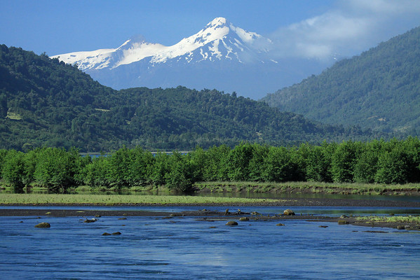 Rio Petrohue - near its mouth into the Reloncavi Fjord, which is clustered with vegetation, of the Valdivian Temperate Forest ecoregion - to the glaciated Volcan Yate, among the cumulus clouds.