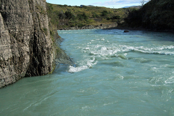 Down the Rio Paine - the glacial ice and snow melt water, from the early summer season - Torres del Paine National Park.