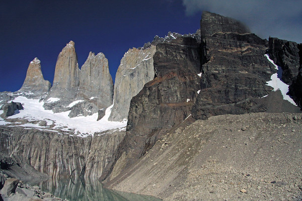 From the slopes and ridges of Cerro Nido Condor (r) - to the Towers of Paine - early summer season.