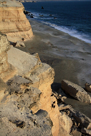 Late afternoon sunlight upon the sedimentary sandstone cliffs rising above Bahia Moreno shoreline - with La Portada (The Gateway) seen in the distance, beyond the soaring turkey buzzards, with other specimens perched upon the ledge and and fallen scree.