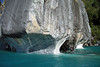 Catedral de Marmol - displaying the water sculpted overhangs, arches, caves, and tunnel - upon Lago Carrera.