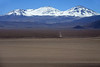 Across the Salar de Maricunga (the southern most Chilean salt flat) - up the western slopes, to the summits of Cerros Tres Cruces Norte (l), Central, and Sur (r), which forms the border from here in the Atacama region of Chile, with the Catamarca province of Argentina.