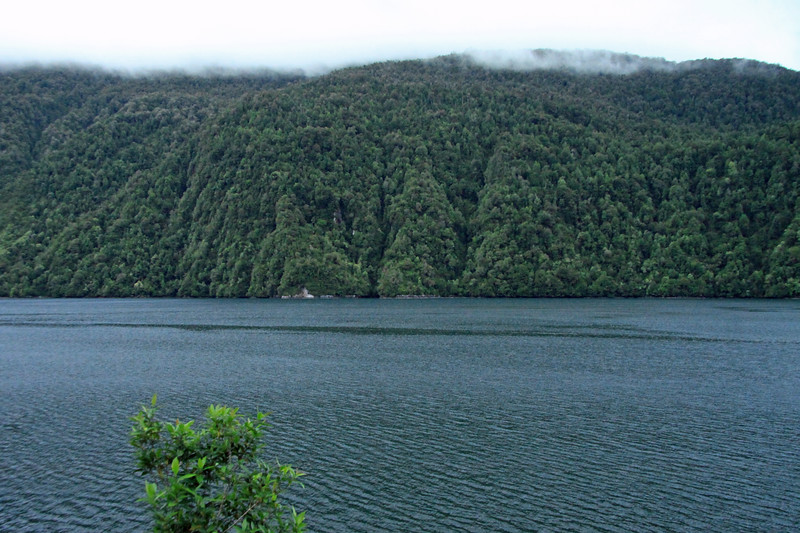 Across the glacial formed fjord, Seno Queulat - to the steep forested slope, among the clouds.