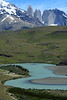 Rio Paine - to eastern slope of Mt. Almirante Nieto (l) - and Torres Central and Norte, adjacent to Cerro Nido Condor.