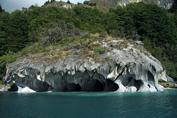 Water sculpted sea caves, into the metamorphic marble rock - with the tussock grass, shrubs, and southern beech tree vegetation, of the Patagonia Andes above.