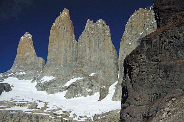 Towers of Paine and the snow-coated glacier below - adjacent to Cerro Nido Condor.