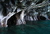 Metamorphic marble sea cave - along the western shoreline and glacial water, of Lago Carrera.
