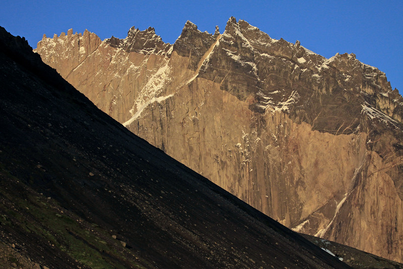 From the early morning light along the northern slope of Mt. Almirante Nieto, scattered with scree - to the jagged glacial sculpted Cerro Nido Condor.