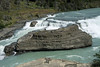 Cascade del Rio Paine - Paine River Waterfall - displaying is glacial rock flour green hue color.