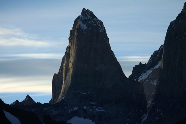 Day's last rays upon the southern face of Torre Sur, also known as D'Agostine - with the adjacent Torre Central (r) - between to Cerro Fortaleza - and distal (l) to Punta Negra.