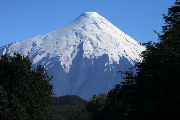 Southern view of the symmetrical, glacier-covered stratovolcano, of Volcan Osorno.
