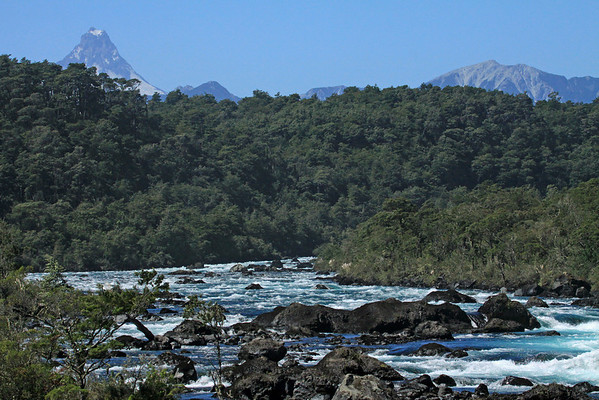 Up the Rio Petrohue - beyond the Valdivian forest - to the conical peak of Volcan Puntiagudo - Vicente Rosales National Park - Llanquihue province, Los Lagos region.