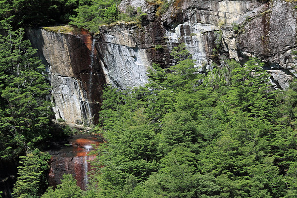 From the upper plunge falls - to the lower horsetail falls - both displaying mineral precipitate (iron oxide and manganese oxide) - among the southern beech trees.