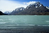 From the southern shoreline of Lago Grey, displaying its glacial flour/milk water, and drifting icebergs - to the southern slopes of Cerro Paine Grande (r) - Cerro Cathedral (c), and the Cordon Olgvin (l).
