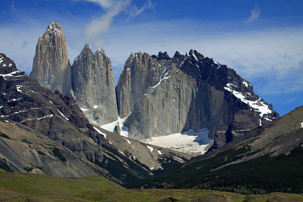 From the Patagonia Steppe shrub ecoregion, during the early summer season - to the Magellanic Subpolar Forest ecoregion (southern beech trees) - beyond the eastern slope of Mt. Almirante Nieto (l) - to the Paine Towers (Torres Central and Norte), adjacent to the hornfels-capped Cerro Nido Condor.