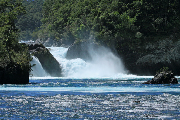 Chute-type falls of the Petrohue Waterfalls - sourced from the glacial formed Lago los Todos Santos (All Saints Lake), which is sourced by the glacial ice peaks of 3 Volcanos (Osorno, Puntiagudo, and Tronador).