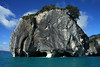Catedral de Marmol (Marble Cathedral) - originally glacial created, now a metamorphic calcite marble island or sea stack - whose base has been wave eroded and sculpted during the past several thousand years, and has grown Patagonia Andes vegetation atop - located along the western shore of Lago Carrera.