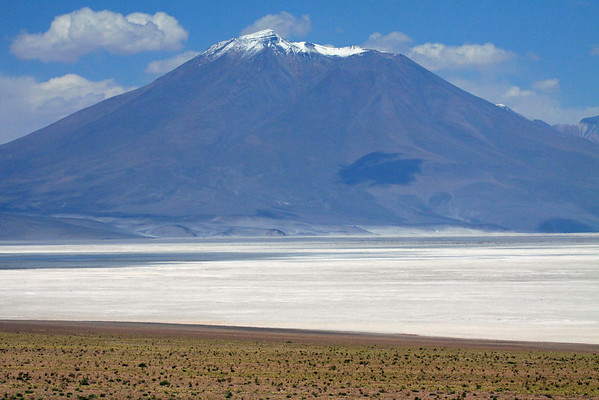 Beyond the xeric shrubs and tussock grass - to the closed basin and salt flat of Salar Ascotan - and Volcan Araral, rising to about 18,661 ft. (5,688 m), among the cumulus clouds of the Cordillera Occidental (Western Range), of the Andes Range.