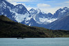 From an isla of Lago Pehoé - to the Frances Glacier upon the lower eastern slope of Cerro Paine Grande - to the igneous granite of Cerro Aleta Tiburon (sharks fin), and further up to Cerro Trono Blanco - Cordillera Paine.