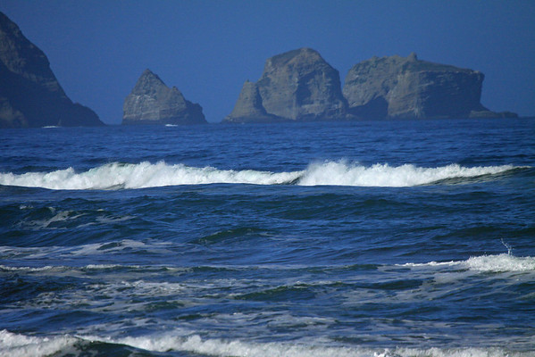 Sea stacks at Punta Pirulil - and the waves upon Bahia Cucao - western Chiloé Island.