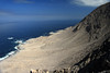 From the cliff along the Coastal Range, at about 1,040 ft. (317 m) - viewing northwestward down the slope, to the Atacama Desert shoreline - western area of the Pan Azucar National Park.