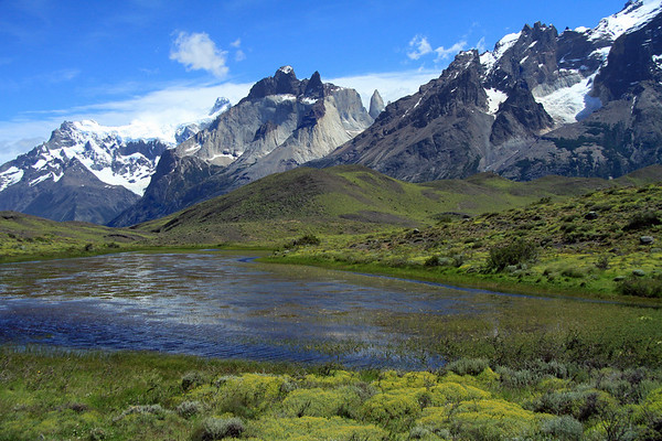Beyond an endorheic lagoon, surrounded by cushion plants and shrubs - to the slopes of Mt. Almirante Nieto (r) - Cuernos del Paine (c), with La Mascara and La Hoja peaks - and Cerro Paine Grande (l), revealing Bariloche Point and Cumbre Principal.