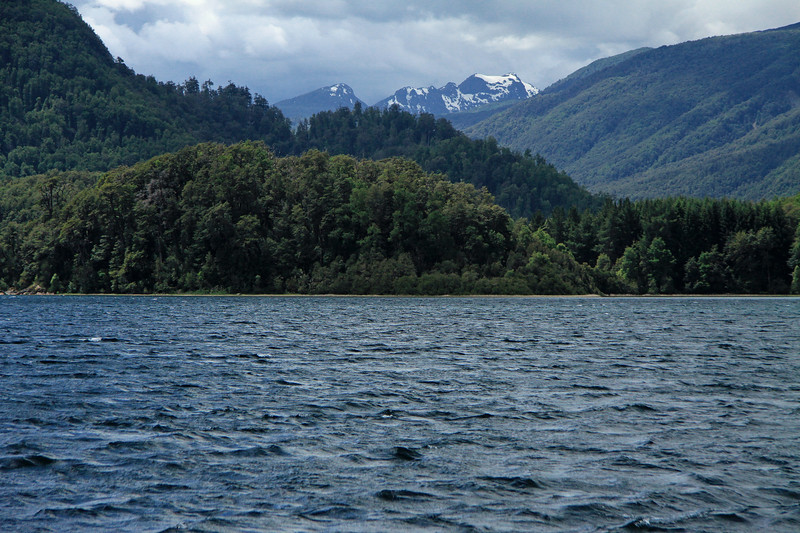 White caps upon Lago Pirehueico, Chile - southward across the southern beech trees - to Cerro Acol.