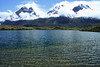 From the spike sedge in an endorheic lagoon - viewing northwestward thru the clouds to Mt. Almirante Nieto (r) - Cuernos del Paine (c), east and main visible - and Cerro Paine Grande (l), Cumbre Principal.