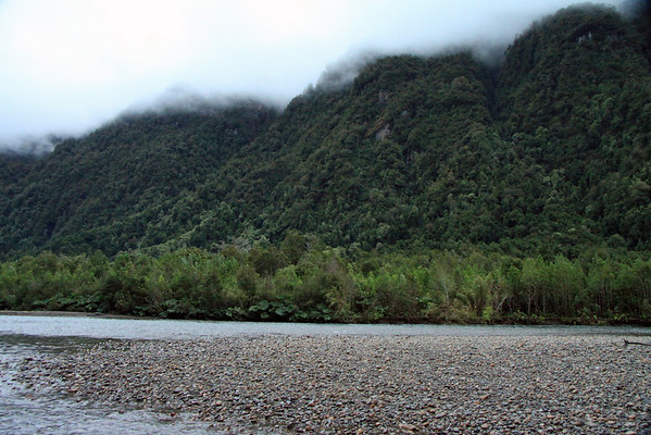 Rio Queulat flowing along the riparian vegetation, and predominately southern beech tree forest up along the clouds - near its confluence with the Seno Queulat.