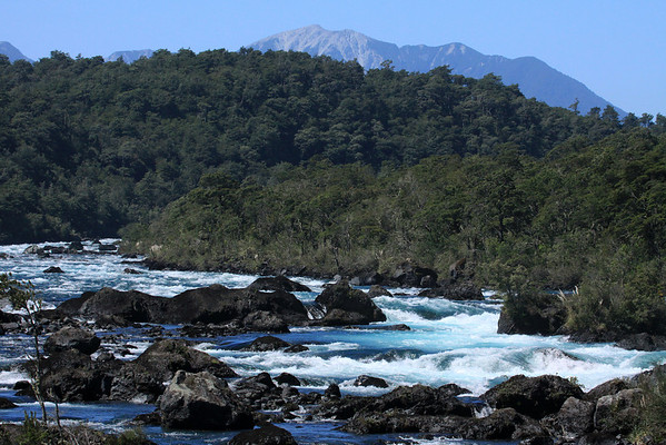 Across the igneous rock among the glacial milk water of the Rio Petrohue - beyond southern beech tree forest - to the ridge and slope, southwest from Volcan Puntiagudo, and just north of Isla Cabra (on Lago Todos los Santos).