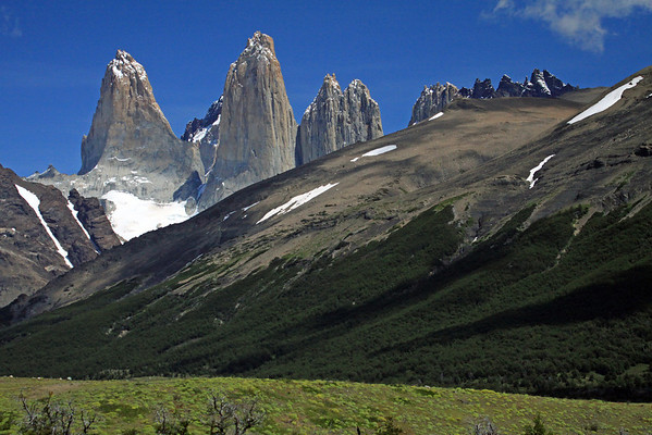 Beyond the early summer season florescence of the cushion plants - to the Lenga Beech forest, along the lower slope of Cerro Paine - to Torre Sur, Cerro Fortaleza, Torre Central, Torre Norte, and Torre Nido Condor.