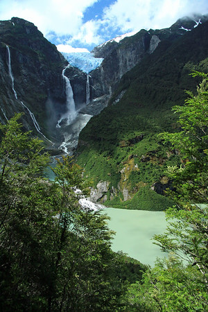 From the sunlit green hue glacial water, of Laguna Tempanos - to the cloud-shaded blue ice of Ventisquero Colgante, and is plunging waterfalls.