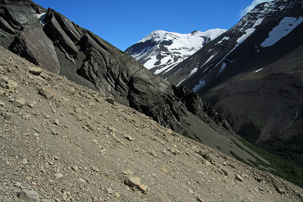 Along the lateral moraine, to the lower slope of Cerro Nido Condor, and the southern beech forest, along the Ascencio Valley below - to the distal Cerro Koch, peaking at about 5,430 ft. (1,655 m).
