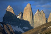 Slopes of Cerro Paine (r) and Mt. Almirante Nieto (l) - Towers of Paine - with Cerro Fortaleza, distal between Torre Sur and Torre Central - and Cerro Escucio distal between Torre Norte (twin peaks), and upper slope of Cerro Nido Condor.