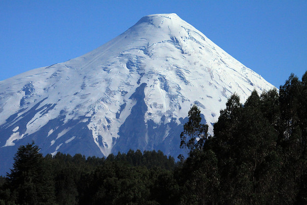 Volcan Osorno - southern view of its glacial-capped peak.