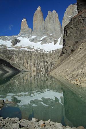 Torres del Paine (and Cerro Nido Condor) reflection upon the glacial milk or rock flour water.